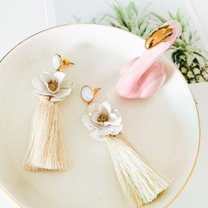 BaubleBar Flower Tassel Earrings White
